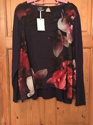 B BY TED BAKER PURPLE  FLORAL SPENDOUR  CHIFFON OVERLAY SIZE 16 BNWT Pyjamas