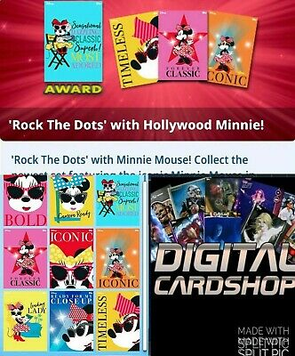 Topps Disney Collect Card Trader Hollywood Minnie Rock The Dots Set of 8 + Award