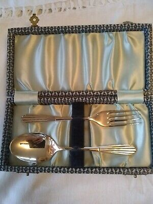Vintage Boxed Silver Plated Baby Fork & Spoon Gift Set EPNS A1
