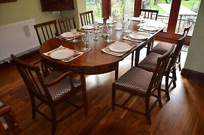 Genuine George III (c1820) Antique Dining Table and 8 Chairs set, Solid Mahogany