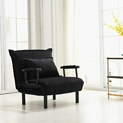 Convertible Single Chair Home Office Furniture Futon Sleeper Guest Bed Black US