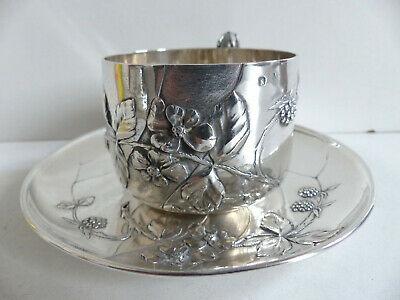 SUPERB ANTIQUE 1890s FRENCH ART NOUVEAU SOLID SILVER 950 TEA CUP SAUCER 236grams