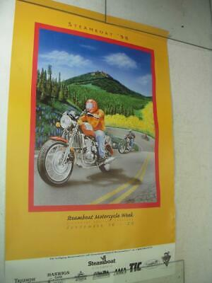 1998 Steamboat Motorcycle Week Colorado Triumph Bike Poster Used Po-247