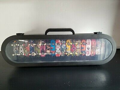 Lot of 18 Tech Deck Finger Skateboards With Wall Mount Display Carrying Case