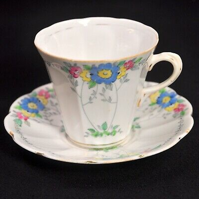 Plant Tuscan Cup & Saucer #3348 Hand Painted Enameled Blue Flowers 1936-1940's