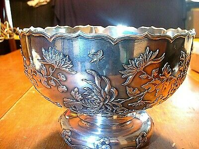 Superb Antique Chinese Export Sing Fat Silver Bowl With Insects, Waves, Florals