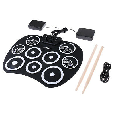Foldable Electronic Drum Roll Up Drum 9 Silicone Pad Digital USB Drum Sticks