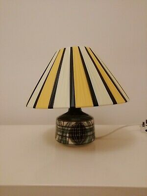 Stunning Jersey Pottery lamp vintage 60s 70s with plastic ribbon shade