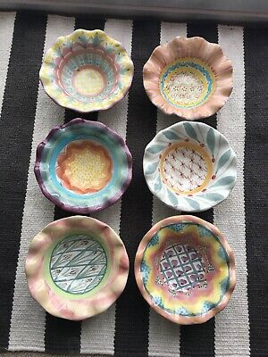 "MacKenzie Childs 6"" Fluted Berry Bowls 6 Different Discontinued Patterns  Mint!"