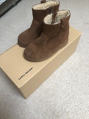 Zara Baby Girls Leather Boots Size 22 Uk Worn Once