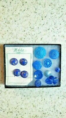 Collectible Sewing Buttons-Glass Shank Buttons In Blues