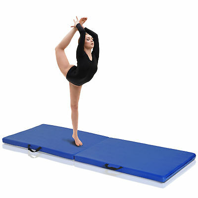 HOMCOM Folding Gymnastics Mat Pilates Yoga Stretching Exercise Pad Handle 2'x6'