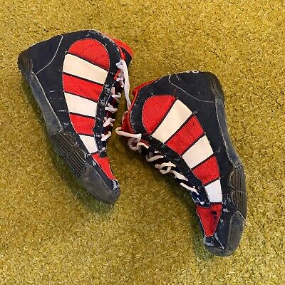 Size 7 Red And Black Adidas Wrestling Shoes Rare