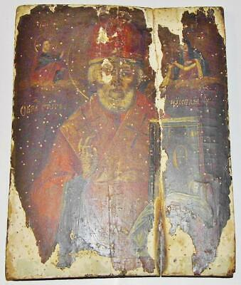 18thC. ANTIQUE RUSSIAN HAND PAINTED ICON St.Nicholas Nikolai or Cyril Kyril
