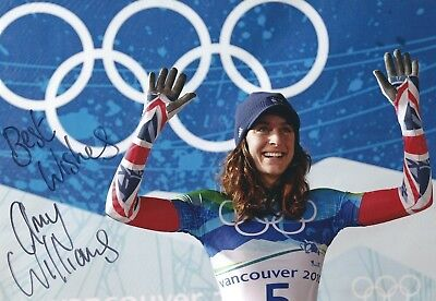 AMY WILLIAMS SIGNED 8x11 PHOTO 2 - UACC & AFTAL RD - OLYMPIC GOLD SKELETON RACER