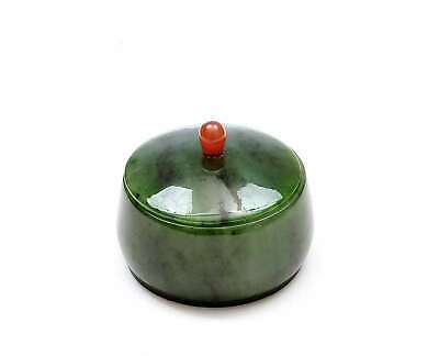 Old Russian Spinach Jade Carved Carving Box Agate Carnelian Finial