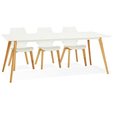 Table à manger design 'MADY' blanche style scandinave - 200x90