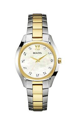 Bulova Women's Diamond Accents Quartz Two Tone 32mm Bracelet Watch 98P145