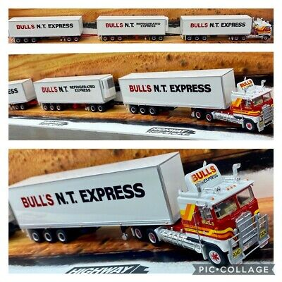 Highway Replicas Bulls Nt Express Freight Road Train Truck Trailer & Dolly 1:64