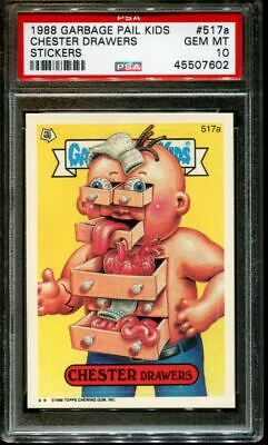 1988 GARBAGE PAIL KIDS STICKERS #517a CHESTER DRAWERS SER.13 PSA 10 N2827176-602