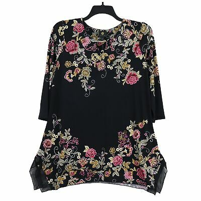 JM Collection Women's 3/4 Sleeve Floral Embellished Tunic Top, Medium, Black