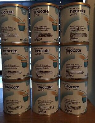 Neocate Jr Unflavored- 9 CANS New factory sealed- Free Shipping!! 2+ cases!