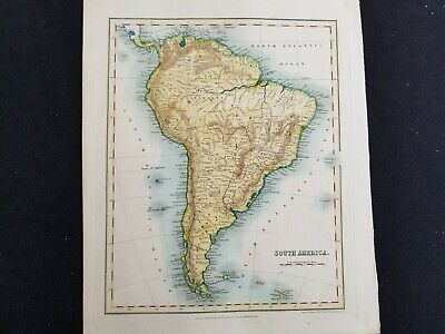 1835c Dower Map South America Real Antique