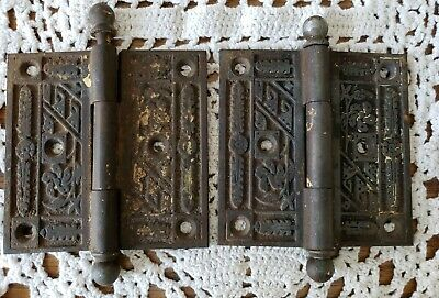 2 Antique Eastlake Victorian Door Hinges Cast Iron