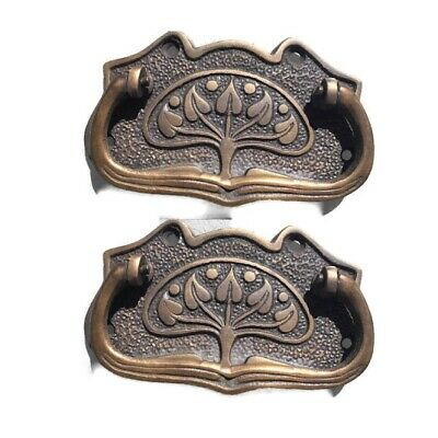 2 DECO cabinet handles solid brass furniture antiques vintage age style 9cm