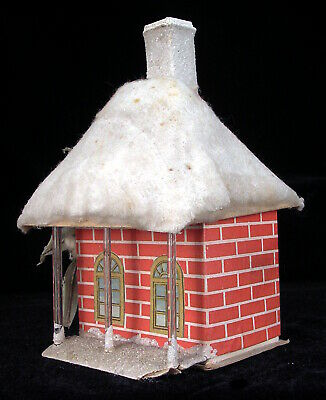 1 Vintage Christmas Village Cardboard CANDY CONTAINER BOX PUTZ HOUSE Japan 1920s