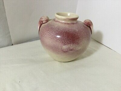 VTG pottery vase vessel red over cream orange peel glaze