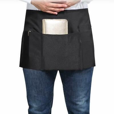 Set of 3 SONGXIN Server Aprons with 3 Deep Pockets Half Apron Black