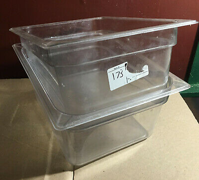 LOT 2 Carlisle Half Size 6'' Deep Clear Plastic Food Pans 1/2