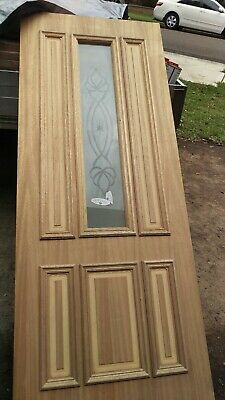 Maple veneer door  exterior front entrance 2040 x 820  x 40 mm patterned glass