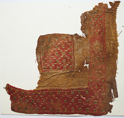 Ancient Coptic Textile Fragment -Dot Pattern on Red Ground, Christian Arts,Egypt