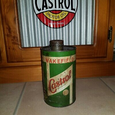 Old Castrol Wakefield Oil Tin Petrol & Oil Collectables