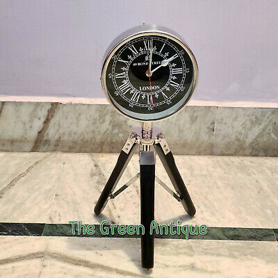 Antique Style Metal Floor Clock Quartz Wooden Tripod Stand Gift