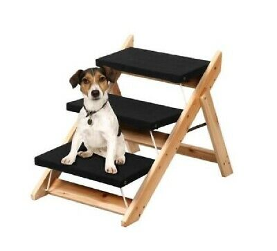 Portable Wooden 2-in-1 Pet Folding Dog Cat 3 Ramp Steps Stair Ladder Travel 0589
