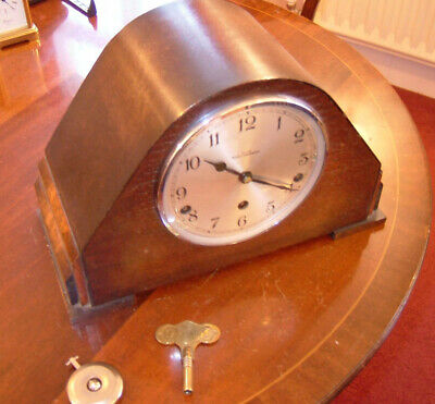 Garrard mantle clock in working order complete with pendulum & key