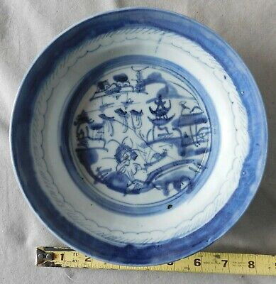 Antique China Canton export soup bowl dish blue Chinese 19th c pagoda Chinese