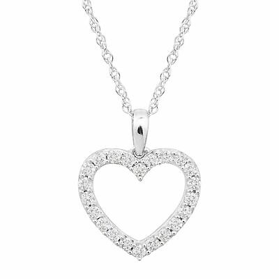 """1/2 ct Lab Grown Diamond Heart Pendant in Sterling Silver, 18"""""""
