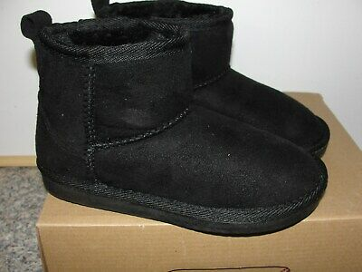 CLEARANCE SALE GIRLS BLACK FUR LINED ANKLE BOOTS size13