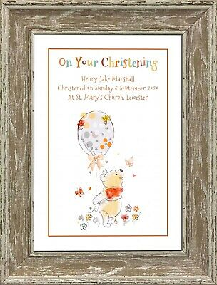 Personalised Winnie the Pooh Nursery Picture Print New Baby Christening Gift