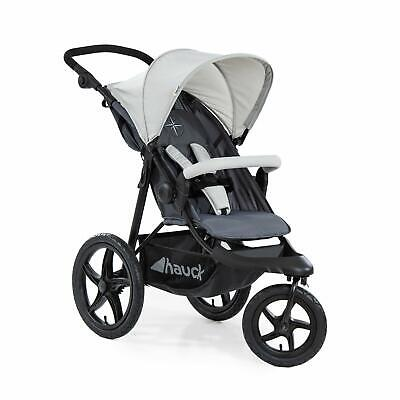 Hauck Runner Air 3 Wheeler Pushchair Buggy In Silver/Grey + Free Raincover