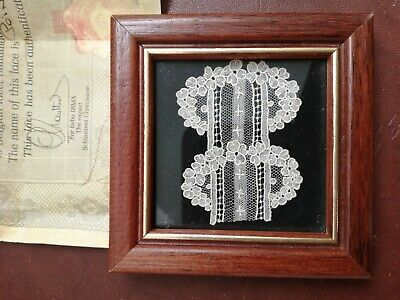 Antique 19th Century Point De Rose Lace Framed With Certificate