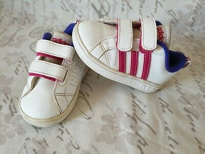Girls Adidas Trainers Infant Size 5 - Pink Stripe - Neo - Toddler Shoes