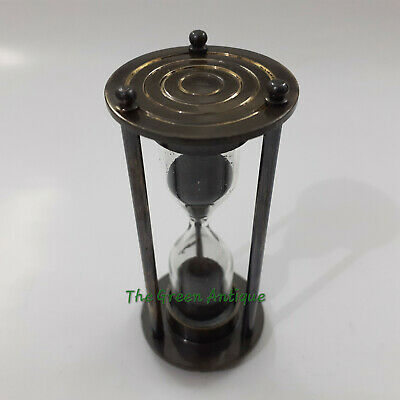 Antique Black Nautical Brass Sand Timer Collectible Gift