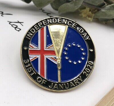 Pre-order UK Brexit Independence Day Enamel Pin Badge 31st January 2020 EU Union