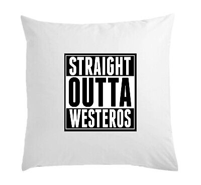 Straight Outta Westeros Slogan White Pillow Case Cushion Cover 40 cm