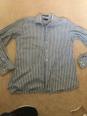 Mens Gant Liberty Bell Blue Stripe Shirt Medium 42 Chest 👌👕👀